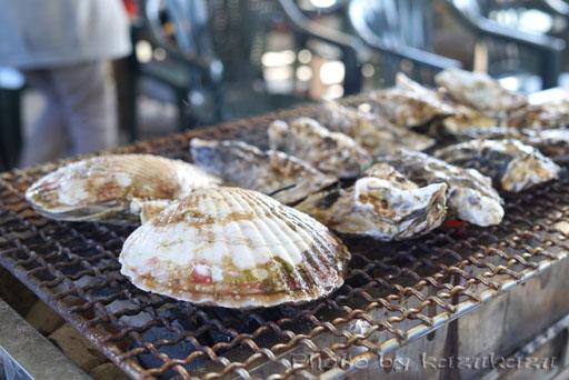 宮城県牡蠣グルメ旅の旬味かきの里の焼き牡蠣と焼き帆立
